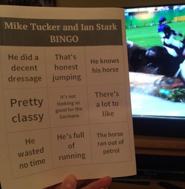 Commentator bingo threw up an interesting curveball. Photo courtesy of Kathy Clark.