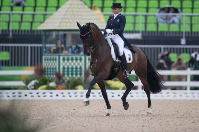 Dorothee Schneider and Showtime (GER), who currently lead individual dressage at the 2016 Olympic Games. Photo © Hippo Foto – Dirk Caremans/FEI.
