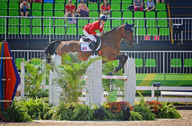 One of our favorite Rio eventing subplots: Lauren Billys and Castle Larchfield Purdy, who accomplished their dream of representing Puerto Rico in the Olympic Games. Photo by Jenni Autry.