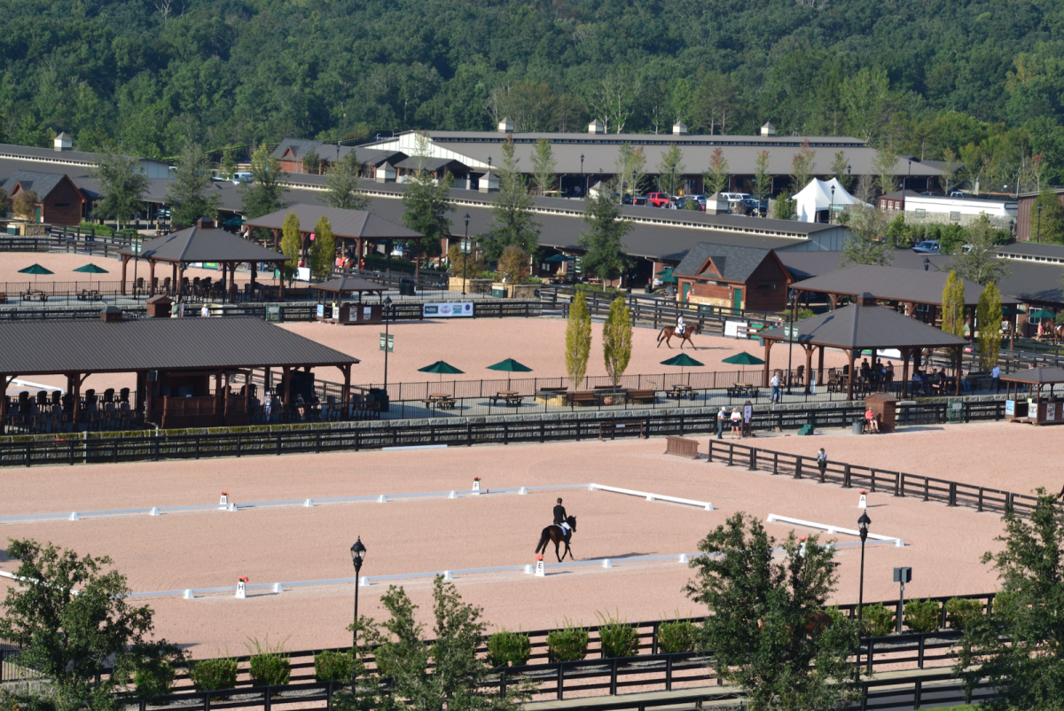 Overlooking the dressage arenas and some barns. Photo by Leslie Wylie.