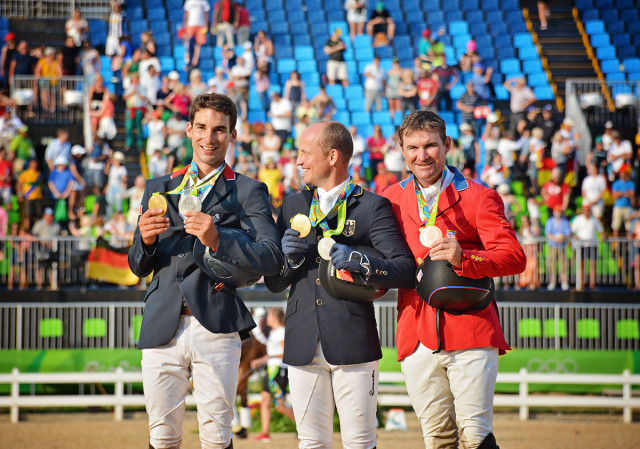 2016 Rio Olympics individual medalists from left: Astier Nicolas (FRA), Michael Jung (GER), Phillip Dutton (USA). Photo by Jenni Autry.