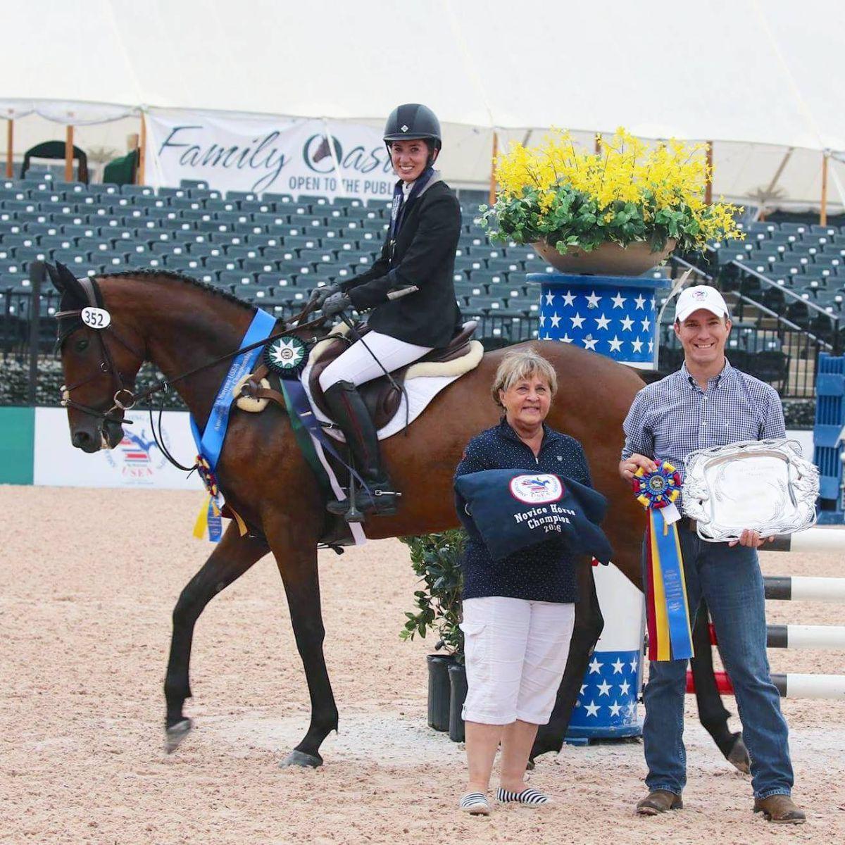 Ashley Phillips and Bayani Slade, 2016 AEC Novice Horse champions. Photo by Ryan Hall.