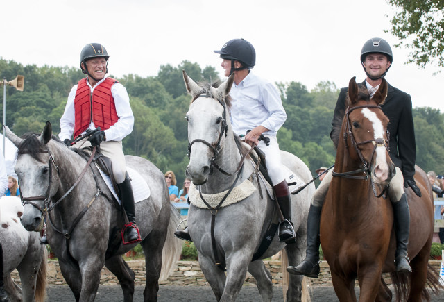 Bruce Davidson, Bruce Miller and Waylon Roberts after the puissance. Photo by Leslie Threlkeld.