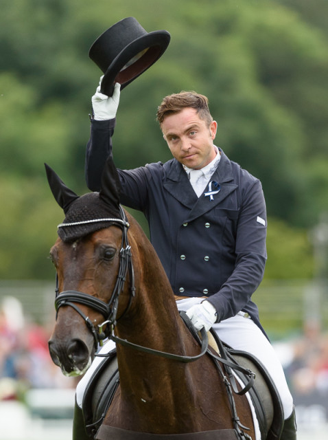 Ben Hobday and Ramilo finish their Land Rover Burghley Horse Trials dressage test Photo By Nico Morgan