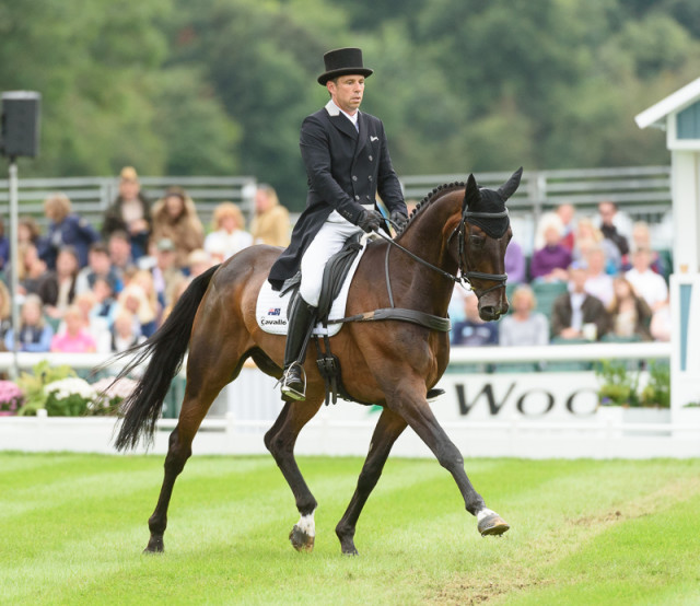 Sam Griffiths and Happy Times in the Land Rover Burghley Horse Trials 2016 dressage arena Photo by Nico Morgan