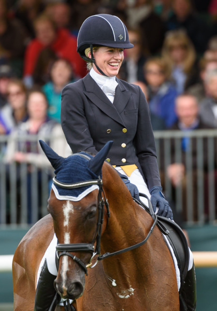 Holly Payne-Caravella and Never Outfoxed after their dressage at the Land Rover Burghley Horse Trials Photo by Nico Morgan