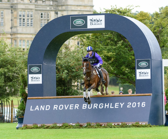 Holly Payne and Never Outfoxed jump clear round the Land Rover Burghley Horse Trials XC. Photo by Nico Morgan