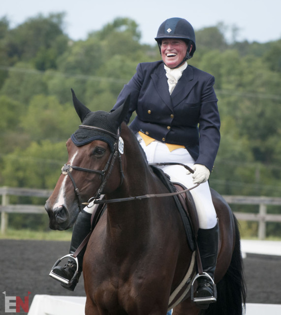 Have you ever seen such happiness after a dressage test? Photo by Leslie Threlkeld.