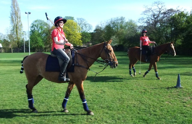 The author rocking the 'anxious beginner' look on the polo field. Photo by Kathy Carter