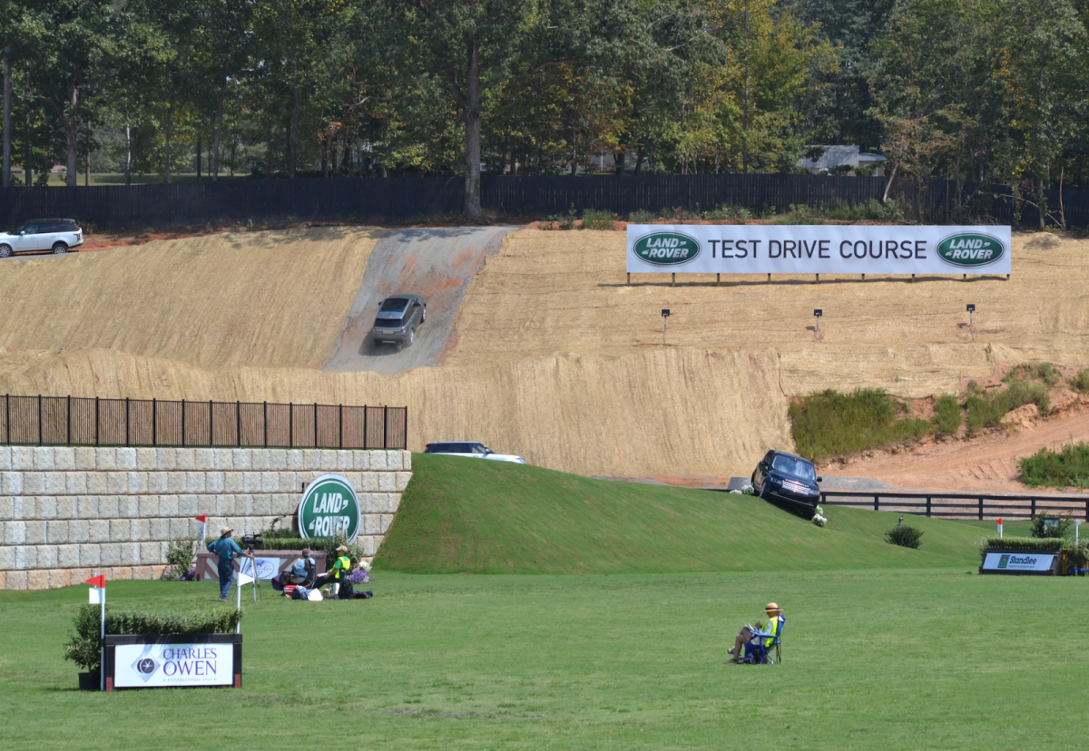 This Land Rover is attempting to go UP the slope the test drive goes down -- intrepid! Photo by Leslie Wylie.
