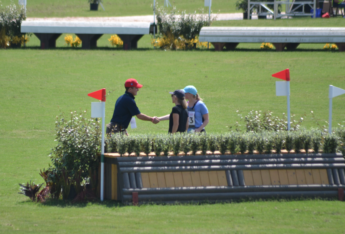 We spotted USEA CEO/superhero Rob Burke out on cross country today, checking up on jump judges, bumping into friends and watching the action unfold. Photo by Leslie Wylie.