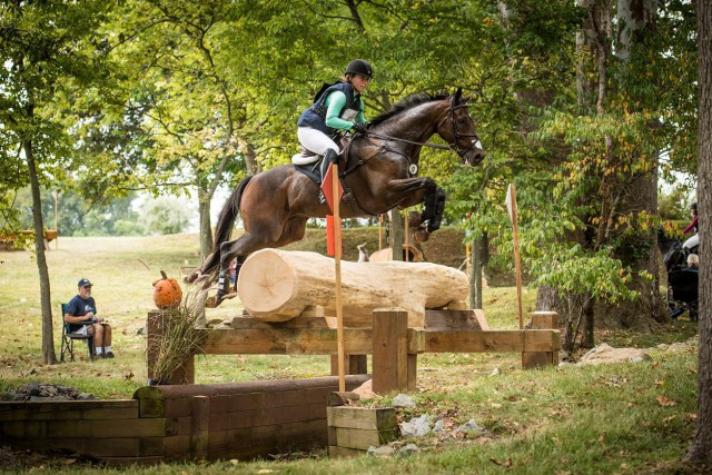 Nita Sanfilippo and Alarmabull tackling the red numbers at their Intermediate debut at Surefire H.T. last weekend. Photo by Leslie Mintz.