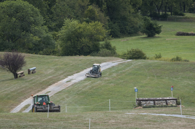 Tractors hard at work at Plantation Field. Photo by Leslie Threlkeld.