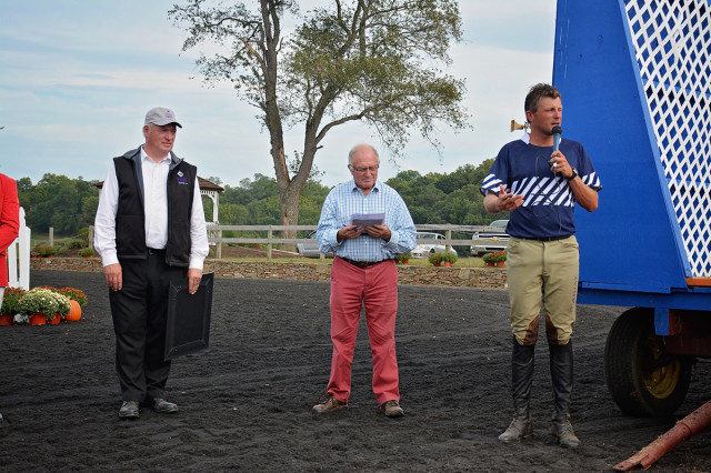 Roy Burek, Mike Tucker and Boyd Martin during the ceremony. Photo by Jenni Autry.