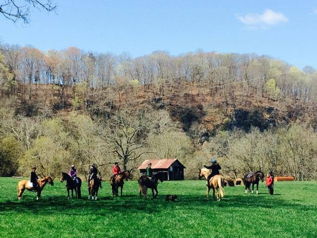 Erika coaching members of the RLT team at a schooling day at River Glen. Photo by Katherine McDonough.