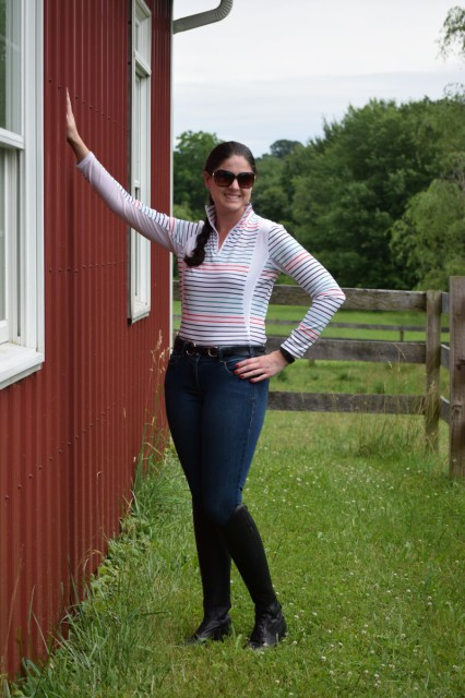 The Arist Denim Breeches are quite simply chic looking. They are made with an indigo colored denim, that has a medium wash with hand sanding. Photo by Lorraine Peachey.
