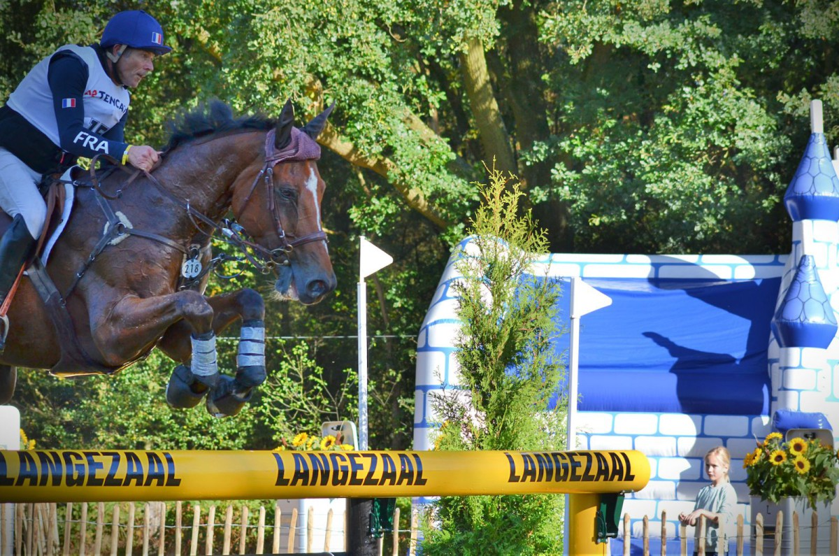 So. Many. Bouncy castles. Right next to the jumps! Raphael Cochet and Sherazad de Louviere (FRA). Photo by Leslie Wylie.