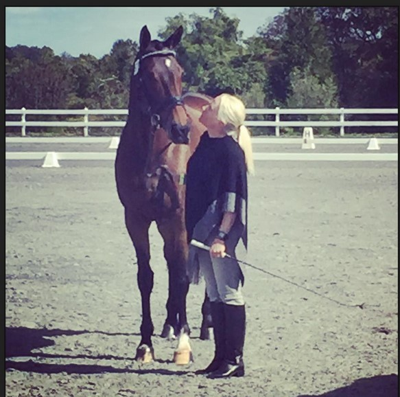 I think it's love! Hawley Bennett-Awad and Jollybo share a moment before taking the runway .. er .. jog strip. Photo via Maralee Paul on Instagram.