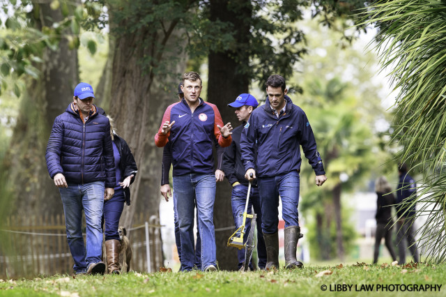 Boyd Martin walking the course with Jock Paget and Kevin McNab. Photo by Libby Law Photography.