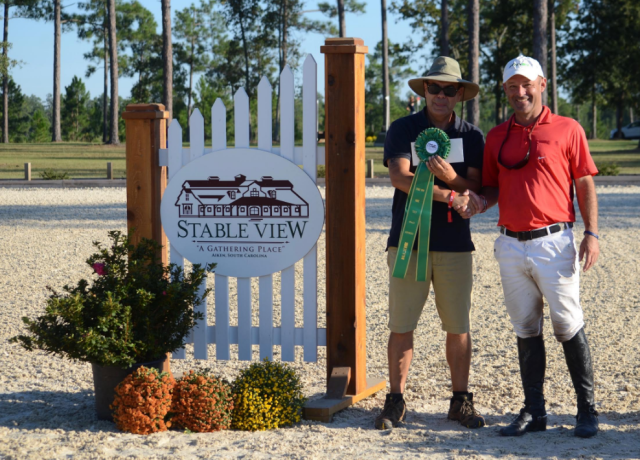 Joe Meyer accepting his award for sixth place. Photo by Lisa Thomas, Mid-Atlantic Equestrian