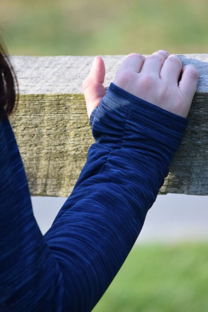 I'm also smitten with all of the fashion forward details that give the Elements Cowl an oh so stylish look. The elastic cuffs create a fashionable bunched looked, and they are include thumbholes to keep sleeves in place. Photo by Lorraine Peachey.