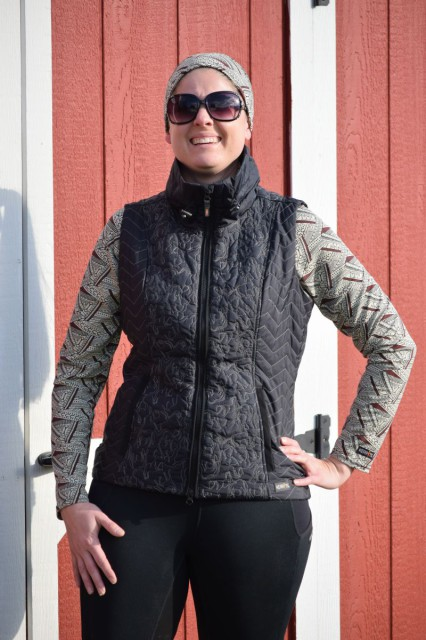 Since the Horse Play Vest is without bulk, it provides me with a look that is both slim and flattering. And I can't help but love the combination of the embroidered horses, along with the chevrons that run down both sides of the vest. Photo by Lorraine Peachey