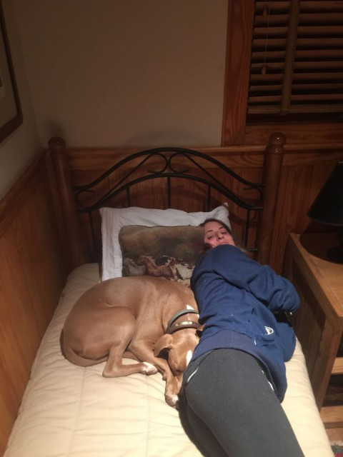 When you have to share a bed with a dog ... and also another person. Trust me -- it happened more than once. Photo courtesy of Maude Greisman.
