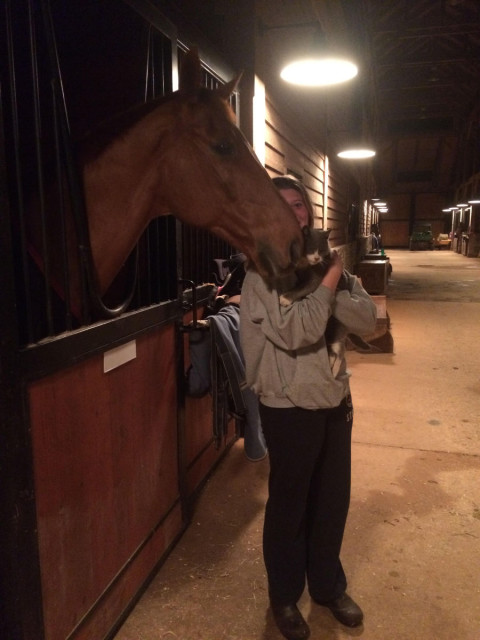 Night check with barn kitties and Tate in North Carolina. Photo courtesy of Maude Greisman.