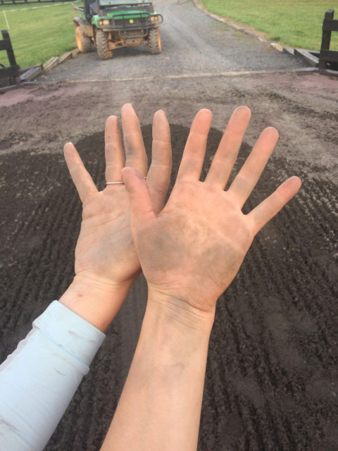 Still washing dirt out of my hands... I am pretty sure it goes seven layers deep. Photo courtesy of Maude Greisman.