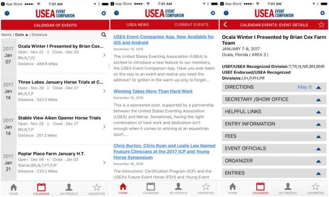 Screenshots via USEA Event Companion.