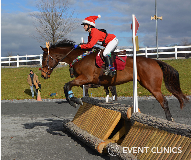 Olivia Ziegler and Mighty Mouse in full holiday attire tackle the Novice Coop. Photo via Event Clinics.
