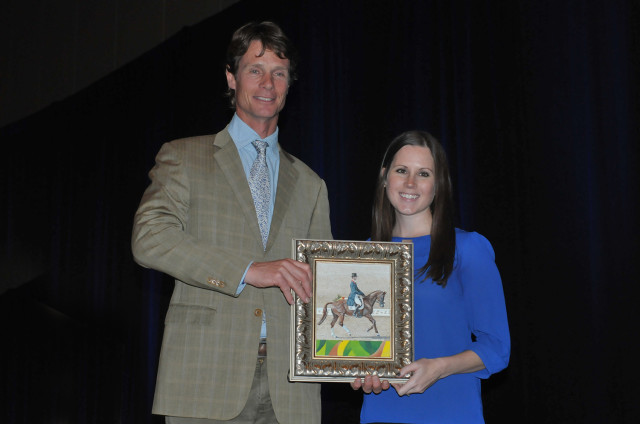 Keynote speaker William Fox-Pitt charmed the crowd and EN's own Jenni Autry presented him with a special painting of William and Chilli Morning competing at the Rio Olympic Games. The painting was done by Julie Lawther with a Jenni Autry photo as reference. Photo by Leslie Threlkeld.