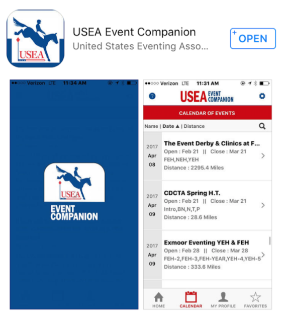 Screenshot via USEA Event Companion.