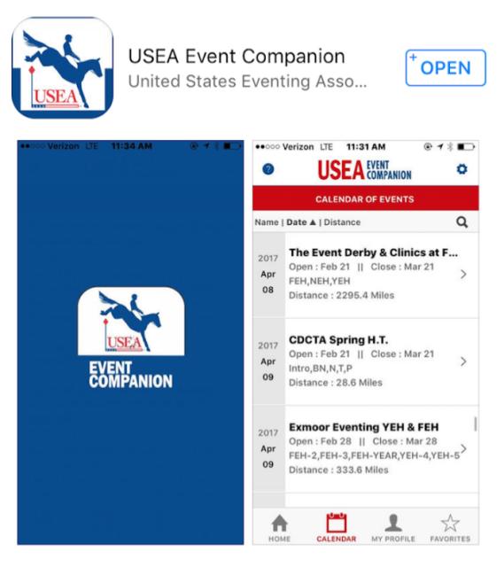 Screenshot via USEA Event Companion.