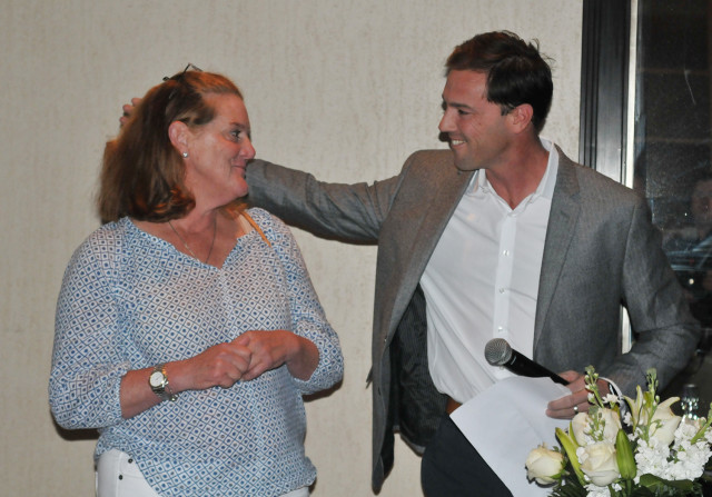 Will Coleman thanks Nanki Doubleday for her longtime support. Photo by Leslie Threlkeld.