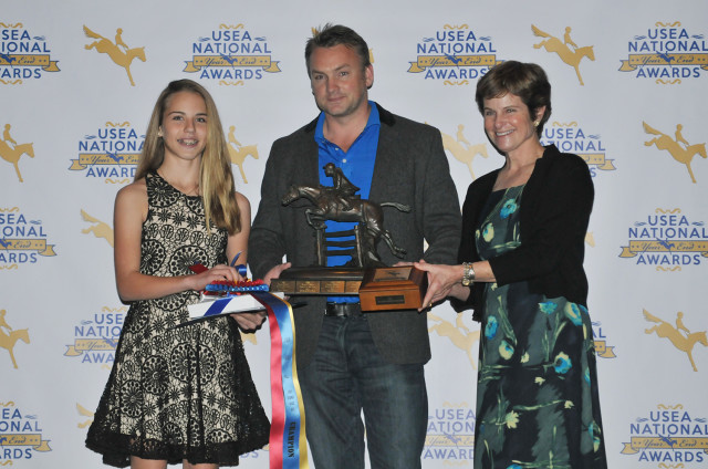Susie Beale's Batteries Not Included received the Theodore O'Connor Trophy as the 2016 Overall Point Two USEA Pony of the Year. His rider Annabelle Kress (pictured) is the Junior Beginner Novice Rider of the Year. Photo by Leslie Threlkeld.
