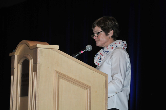 The new USEA President Carol Kozlowski addresses the membership. Photo by Leslie Threlkeld.