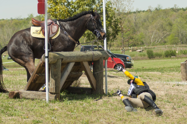Fall are par for the course in the field of eventing. Photo by Leslie Threlkeld.