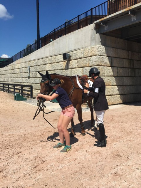Rachel Petty assists Ryan Wood with Woodstock Bennet at the AECs. Photo courtesy of Sam Burton Henley.