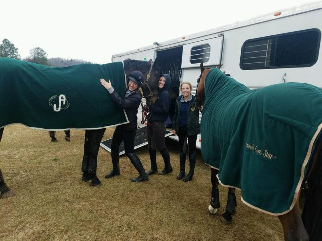 Jade and her ladies country schooling in 32 degrees and sleet earlier this month. Photo via Jade Anderson.