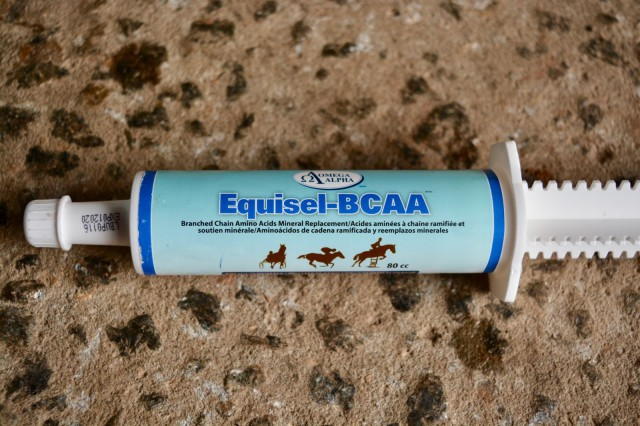 Equisel-BCAA is a recovery formula with branched chain amino acids. Photo by Kate Samuels.