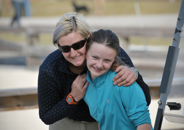 Mellisa Davis Warden and her daughter Ainsley enjoy a sunny day together at Stable View HT. Photo by Leslie Threlkeld.