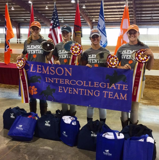 Team members Sarah Pyne, Anna Fogerty, Alex Peterson, and Samantha Hay after wining reserve champion at the Intercollegiate Championship held at the Virginia Horse Park. Photo courtesy of Clemson Eventing Team.