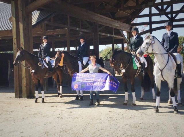 Riders Ally Ault, Samantha Hay, Molly Micou and Sarah Pyne posing for a picture after the awards ceremony at Chattahoochee Hills Team Trial with Linda Limeri holding the Clemson banner. Photo courtesy of Clemson Eventing Team.