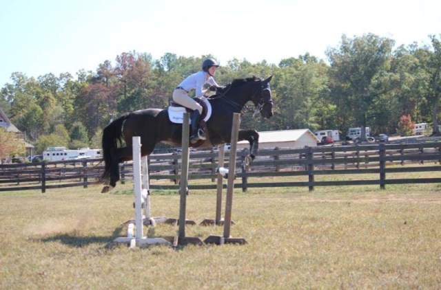 Team member Karla Diviesti and her mare Kalypso at the Bonnie Mosser Clinic. Photo courtesy of Clemson Eventing Team.