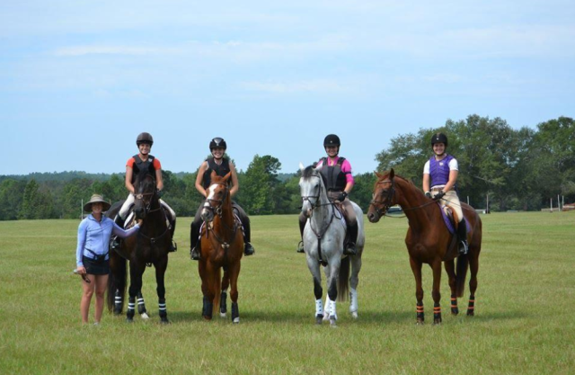 Allison Springer pictured with members Julia Gates, Anna Fogerty, Molly Micou and Kaitlyn Bardos on Full Gallop Farm's cross country course. Photo courtesy of Clemson Eventing Team.