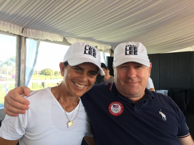 Caroline Moran, a longtime Phillip Dutton supporter and owner, and Will Connell, USEF Director of Sport Programs, wearing #TeamLeeLee hats at the 2017 Wellington Eventing Showcase. Photo by Joanie Morris.