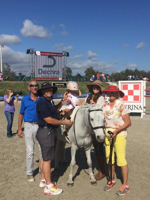 Aubrey Davidson enters her first leadline class at HITS. Photo via Andrea Davidson Eventing FB page.