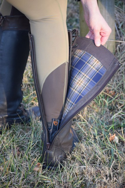 The Coniston boots are crafted out of premium waterproof full grain leather. They also feature a breathable GORETEX lining, which boasts a stylishly fun plaid pattern. Photo by Lorraine Peachey.