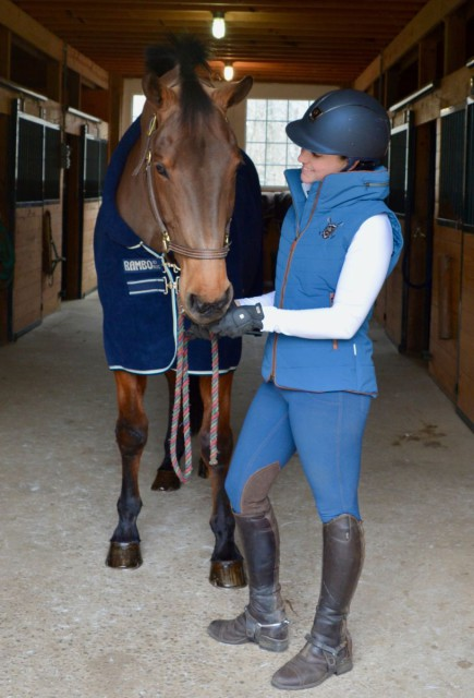 The winter breeches go excellently with the padded vest from Horseware. Photo by Owie Samuels.